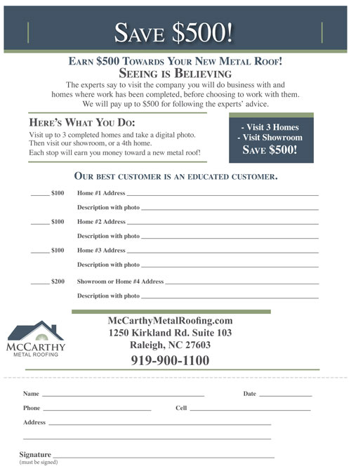 Earn a $500 Discount Form